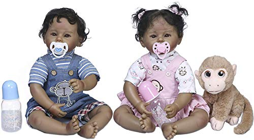 Zero Pam Black Reborn Baby Toddler Dolls 22inch 55cm Boy&Girl African American Realistic Reborn Baby Dolls Twins Weighted Soft Silicone Limbs with Plush Monkey Toy Lifelike