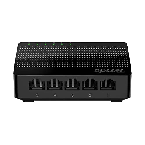 Tenda SG105 Ethernet Desktop Switch ,5 Port Gigabit Switch (10 100 1000 Mbps),IEEE 802.3X, Plug and Play, Uninterrupted Gaming, HD Streaming, Automatic MDI MDIX,Black