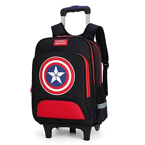 QWEIAS Mochila para niños Trolley Bag - Captain America 3D Mochila Escolar para niños y niñas - Mochila para niños Mochila con Ruedas con Asas telescópicas y Ruedas de 2/6 Black-2 Rounds