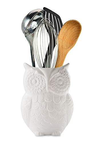 Comfify Owl Utensil Holder Decorative Ceramic Cookware Crock & Organizer, in Lovely White Color - Utensil Caddy and Perfect Kitchen Ceramic Décor Gift - 12.7 x 17.8 x 10.2 cm Size