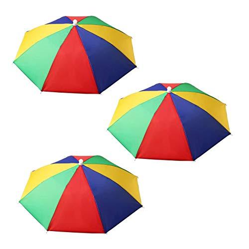 XLKJ 3 Pièces Chapeaux de Parapluie avec Bande Élastique Chapeau Parapluie de Tête Multicolore en Arc-en-ciel pour Sports d'extérieur