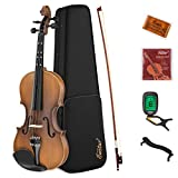 Eastar 3/4 Violin Set Fiddle for Kids Beginners Students EVA-3 Matte with Hard Case, Rosin, Shoulder Rest, Bow, and Extra Strings (Imprinted Finger Guide on Fingerboard)