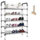 O'woda Zapatero de Metal de 5 Niveles,Negro,58 x 28 x 102 cm,Estantería para Zapatos para Guardar hasta 15 Pares de...