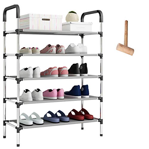 O'woda Zapatero de Metal de 5 Niveles,Negro,58 x 28 x 102 cm,Estantería para Zapatos para Guardar hasta 15 Pares de Zapatos,para Sala de Estar, Entrada, Pasillo y Guardarropa