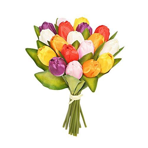 FloristryWarehouse seda Artificial Tulip flores rojo, naranja, rosa, amarillo y morado 18tallos 30cm