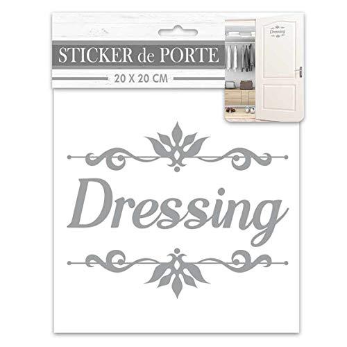 Les Trésors De Lily [R2099 - Sticker Porte 'Dressing' Gris - 20x20 cm