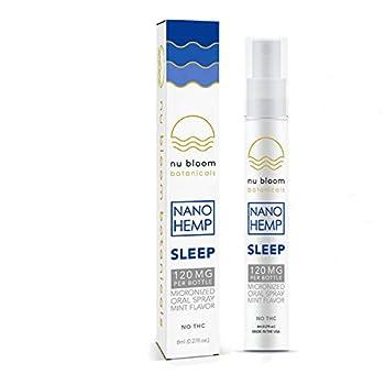Nu Bloom Botanicals Sleep Aid Natural - Oral Sleep Spray Best Tranquil Midnight Sleep Aid - Pure Organic Hemp Oil and Melatonin - for Anxiety Insomnia Stress Relief - Made in USA 8ml 120g