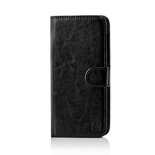32nd PU Leder Mappen Hülle Flip Hülle Cover für Nokia 6 (2017), Ledertasche hüllen mit Magnetverschluss & Kartensteckplatz - Schwarz