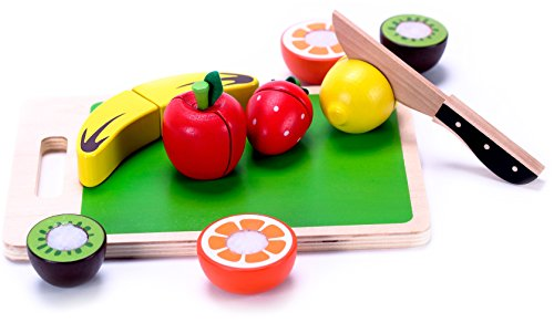 Wooden Fruit Cutting Play Food for Toddlers to Cut & Serve, Wood Knife & Cutting Board - Durable Easy-Slice Cutable Food, Classic Toy & Kids Play Pretend Kitchen Accessories