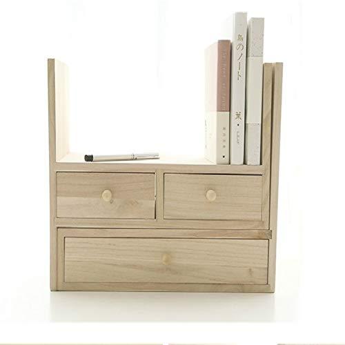 OPNIGHDYMD Bücherregal, industrielles stabiles Bücherregal, Lagerregal, einfache kreative DIY-Holzschreibtischsets Schreibwarenhalter Magazin Make-up Organizer File Tray Bücherregale