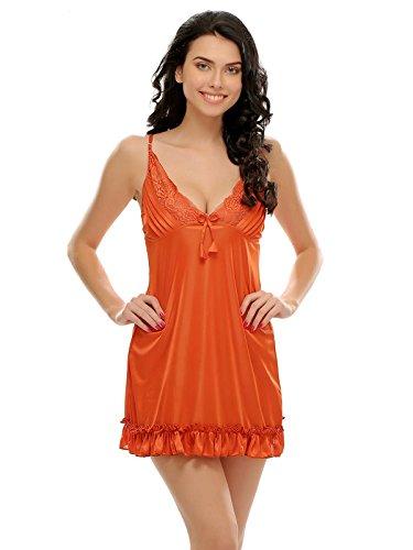 [Apply coupon] Clovia Women's Sexy Ruffled Babydoll in Rust Orange (NS0465P16_Orange_XL)