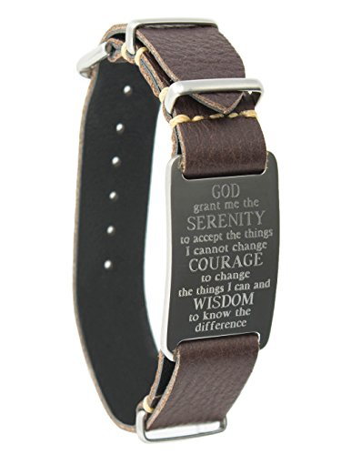 Dakota Leather Wrap Bracelet with Serenity Prayer ID Plate (Brown, 12391)
