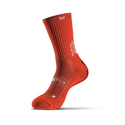 SOXPro,Calze Antiscivolo,Calze Sportive,Frecce Grip in Silicone,Running,Calcio,Ciclismo,Tennis,Red,Medium