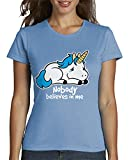 latostadora - Camiseta Triste Unicornio para Mujer Azul Cielo S