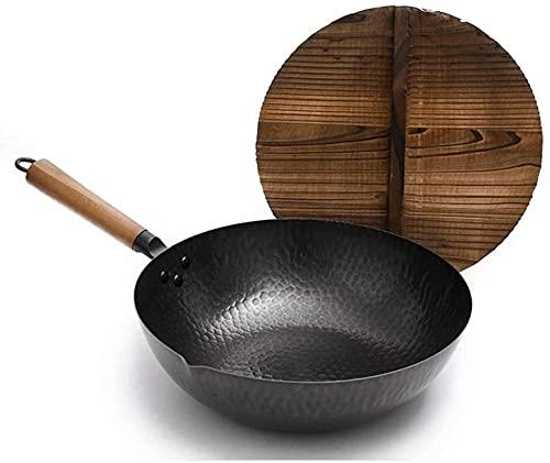 TINGFENG Wok WOK de acero al carbono no palo WOK resistente al fundido de aluminio de aluminio negro de hierro fundido preempleado negro