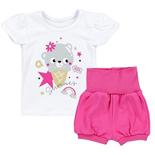 TupTam Baby Mädchen Sommer Bekleidung T-Shirt Shorts Set, Farbe: Bärchen mit EIS/Weiß/Pink, Größe: 92/98