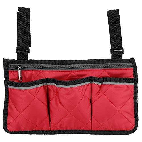 Bolsa de transporte para silla de ruedas, bolsa de almacenamiento para silla de ruedas, con múltiples compartimentos de bolsillo para ancianos, personas mayores,(Red wine)