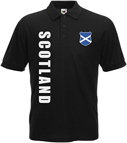 AkyTEX Schottland Scotland EM-2020 Polo-Shirt Wunschname Nummer Schwarz M