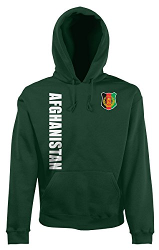 AkyTEX Afghanistan Kapuzenpullover Hoody Trikot Wunschname Wunschnummer (Flaschengrün, S)