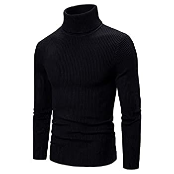 OutTop Men s Turtleneck Sweater Tops Fall Winter Warm Knit Base Layer Stretch Snug Fits Long Sleeve Pullover Sweatshirts  Black M