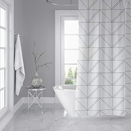 Horizon Home Essentials Modern Luxury Geometric Shower Curtain for Bathroom, 72 x 72 inch, Water and Mildew Resistant, 100% Polyester, Grey and White