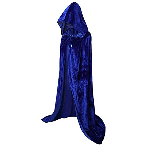 Andouy Vintage Halloween Mantel Umhang Kostüm Kapuze Lang Einfarbig Party Prom Cosplay Kleidung Tanz Rave Für Festival(XL.Blau lang)