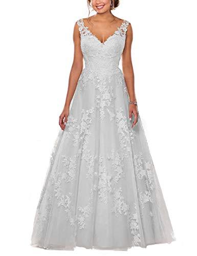 Brautkleider Spitze Prinzessin mit V-Ausschnitt Hochzeitskleider Abendkleider A-Linie Ärmellos mit Schleppe Weiß 44