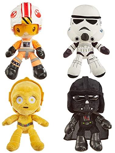Star Wars Hoth Battle Plush 4-Pack, 8-in Character Soft Dolls, Luke Skywalker, Darth Vader, C-3PO &...