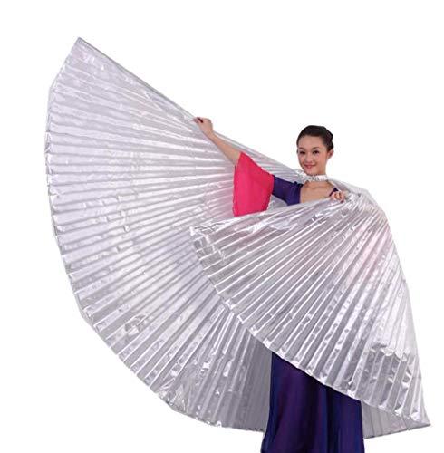 Andouy Bauchtanz Isis Flügel Keine Stöcke für Erwachsene Bauchtanz Kostüm Engelsflügel für Halloween Karneval Leistung(142CM.Silber)
