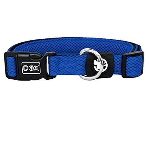 DDOXX Collar Perro Air Mesh, Ajustable, Acolchado | Muchos Colores & Tamaños | para Perros Pequeño, Mediano y Grande | Collares Accesorios Gato Cachorro | Azul, M