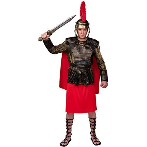 Amakando Estilizado Disfraz Espartano para Adulto/Bronce-Rojo ES 50/52 (M/L) / Equipamiento Guerrero troyano Antiguo/El Punto Brillante de Carnaval y Fiestas temticas