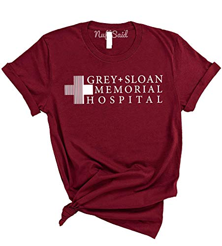 NuffSaid Grey Sloan Memorial Hospital T-Shirt – Unisex Funny Save Lives Tee (Small, Cardinal Red)