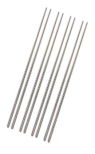 KINGSUPER Set of 4 Pairs 15.3 Inch Extra Long Chopsticks Non-slip Stainless Steel Hot Pot Chopsticks for Cooking Frying Noodle