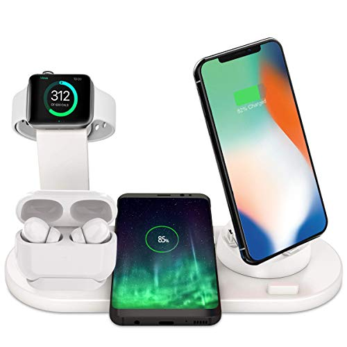 Bestrans Wireless Charger 6 in 1, Ladestation für Apple Watch 5/4/3/2, Airpods 2/1 und Smartphone, Fast Handy-Induktionsladegeräte für iPhone 11/11 Pro/XR/XS/X/8 Plus/8 Samsung Galaxy Huawei (Weiß)