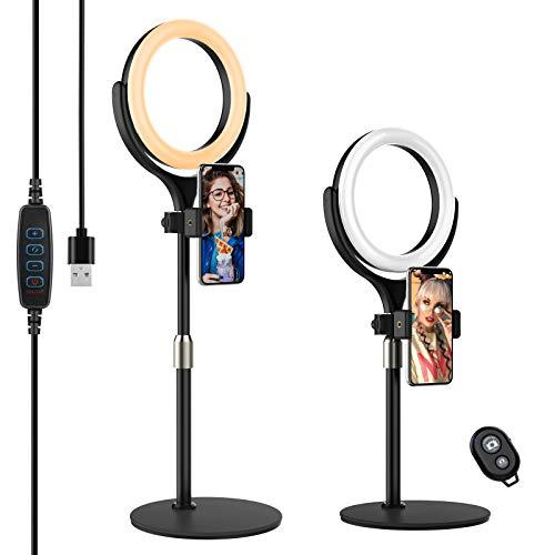 Yoozon Selfie LED Ringlicht mit Fernauslöser,Tischringlicht mit 3 Farbe 6500K dimmbare 10 Helligkeitsstufen, Ringleuchte für Youtuber, Vlog, Blogger,...