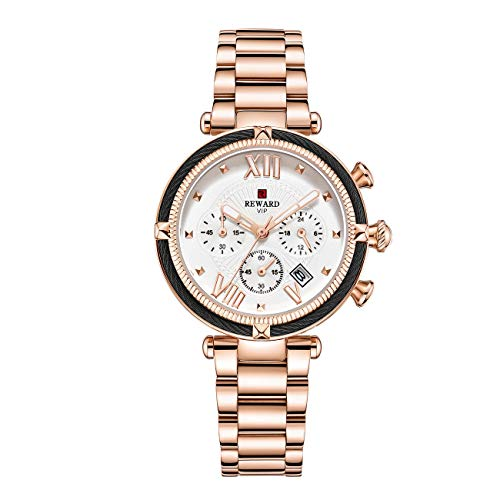 Reward Damen-Armbanduhr, wasserdicht, Chronograph, Quarz, Sport-Armbanduhr mit Kalender, Edelstahlband