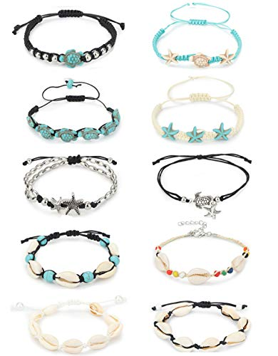 LOYALLOOK 10PCS Shell Turtle Ankle Bracelets Handmade Boho Anklet Jewelry Adjustable Natural Cowrie Shell Beach Bead Anklet for Women