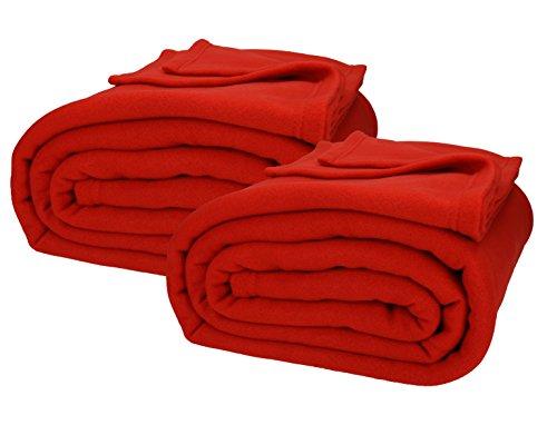 Betz 2 Stück Jumbo Fleecedecken Kuscheldecken in XXL Größe 220x240 cm Farbe rot