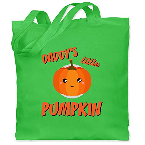 Shirtracer Halloween Kind - Daddys little Pumpkin Halloween - Unisize - Hellgrün - Kürbis - WM101 - Stoffbeutel aus Baumwolle Jutebeutel lange Henkel