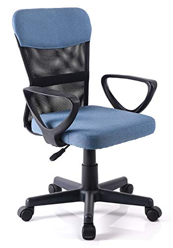 Exofcer Silla de Oficina Ergonómica Silla de Giratoria de Malla de Respaldo Medio para Adolescentes en Casa (Azul)