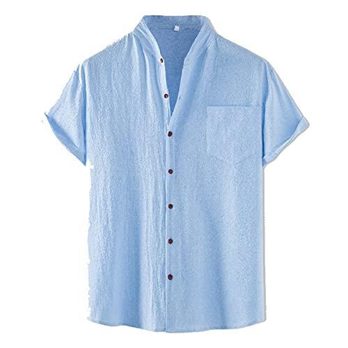 SSBZYES Camisas para Hombres Camisas De Verano De Manga Corta Camisas De Solapa De Manga Corta De Gran Tamaño Camisas Sueltas De Color Sólido para Hombres Camisas De Cuello Alto para Hombres