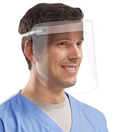 Coota Safety Face Shield,5PCS Visor de protección facial transparente y liviano Banda elástica antiniebla ajustable y esponja de confort Protector facial dental para hombres Mujeres
