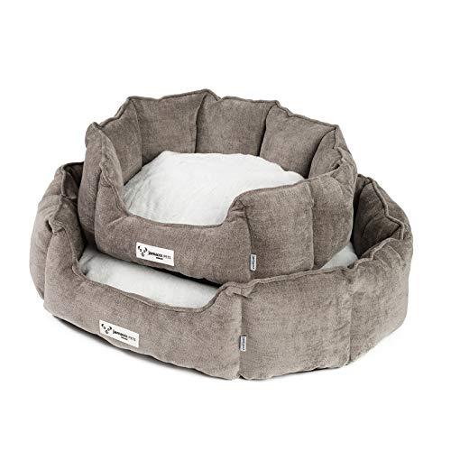 JAMAXX Oval-Rundes Hunde-Körbchen, Kuschelig mit Flauschigem Wendekissen Fell, Hunde-Bett Hunde-Korb mit Extra Hohen Seitenwände, PDB2090 ((S) 54x45, Brown)