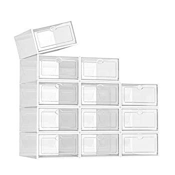 SEE SPRING 12 Pack Shoe Storage Box Shoe Box Clear Plastic Stackable Drop Front Shoe Organizer Space Saving Foldable Shoe Container Bin Fit up to US Size 9  Clear