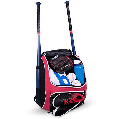 R & G Baseballschlägertasche – Rucksack für Baseball, T-Ball & Softball Ausrüstung & Ausrüstung für Kinder, Jugendliche und Erwachsene | hält Schläger, Helm, Handschuhe, Schuhe (rot)