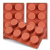 homEdge Molde de silicona con cilindro de 8 cavidades, 3 paquetes de moldes de cilindro para hacer...