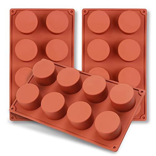 homEdge 8-Cavity Cylinder Silicone Mould, 3 Packungen Zylinderformen zur Herstellung von handgemachter Seife, Schokolade, Seifenkerzen und Jelly-Brown