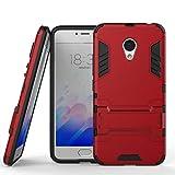 tinyue® Handyhülle für Meizu M5, Hülle 2 in 1 Material Harte Schwer doppelte kratzfester Handyfall im Freienhandyfall Iron Man Rüstung mit Kickstand Hülle, Rot