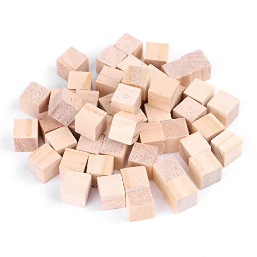 Akozon Cubos naturales de madera de pino, DIY Manualidades(50Pcs 10mm)