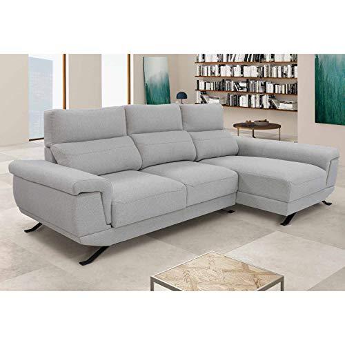 Sofá de 3 plazas con chaiselongue a la Derecha, Asientos deslizantes y arcón, Color Gris Claro Modelo DIMAR